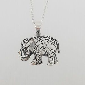 Sterling Silver Necklace With Elephant Pendant